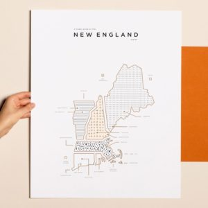 42 Pressed New England Gold Foil Map