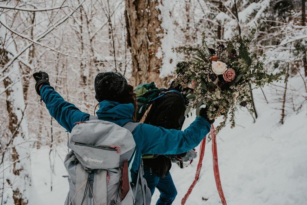 Hiking in snow wedding