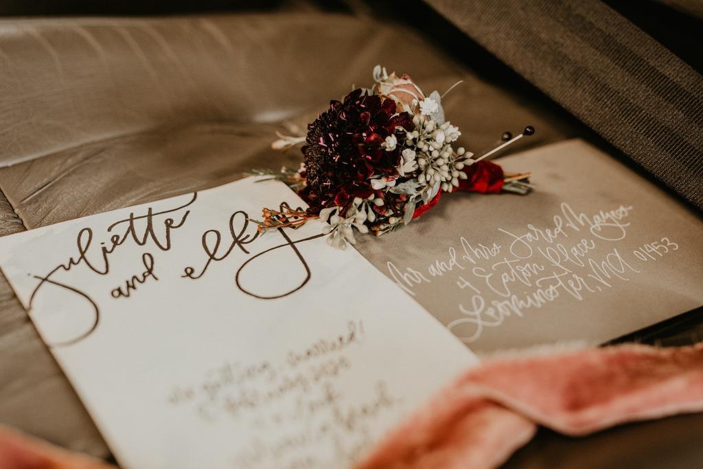 Brown paper wedding invitations